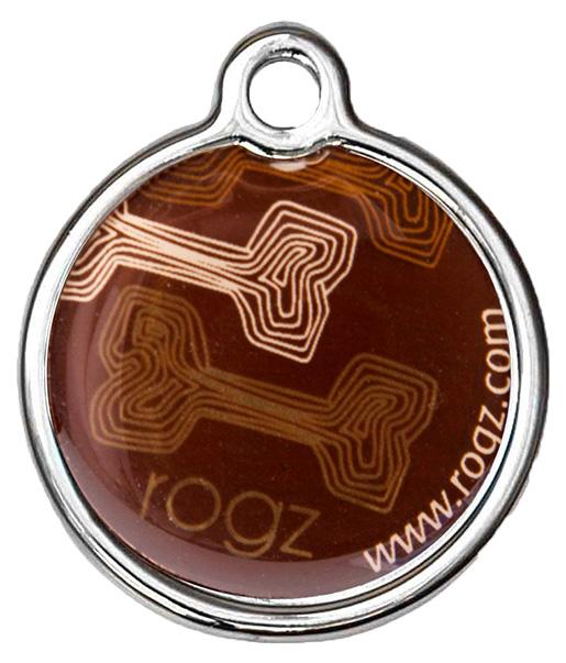 Rogz Známka Metal Mocha Bone kovová 2cm