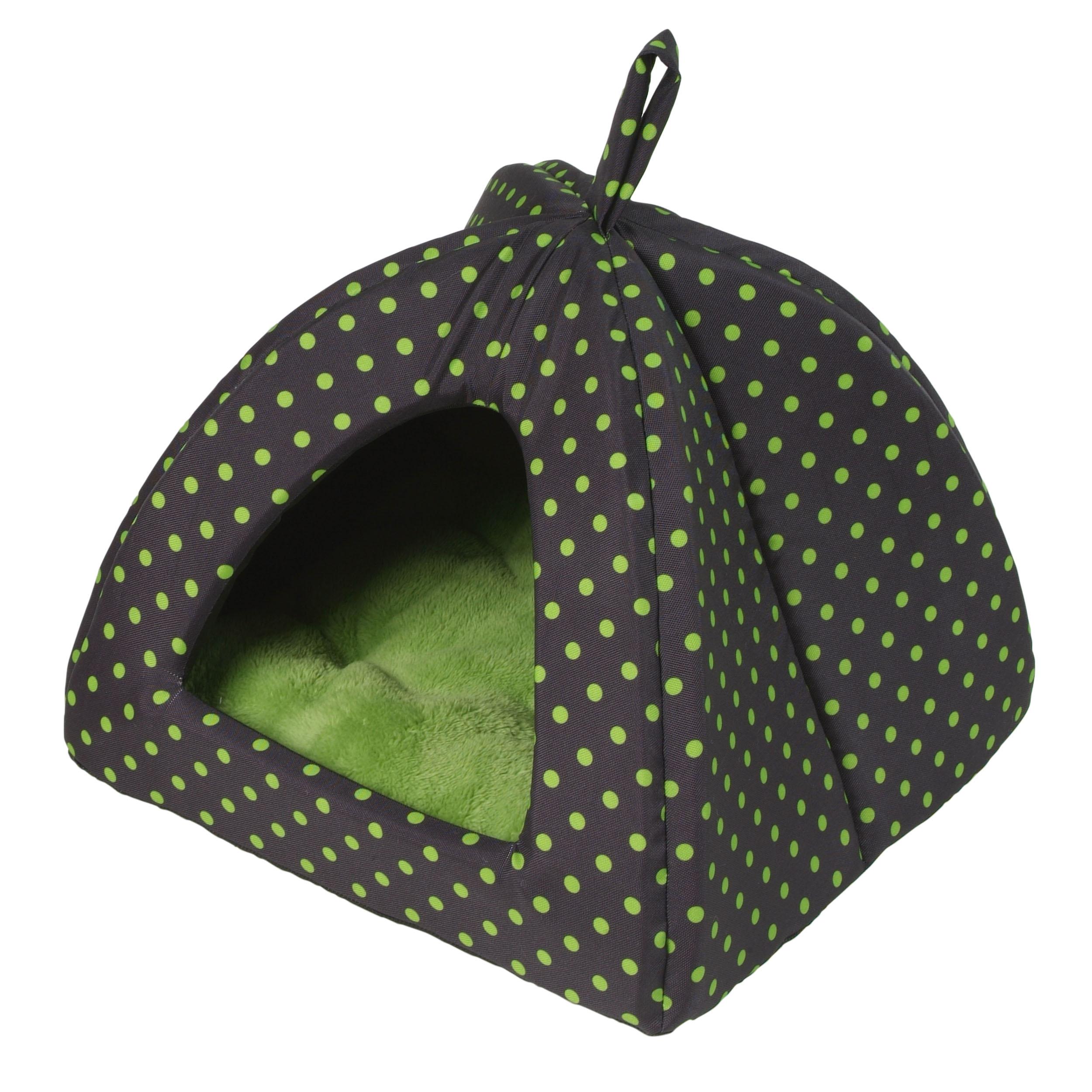 Domeček Iglú Dotty zelený puntík 38 x 38 cm