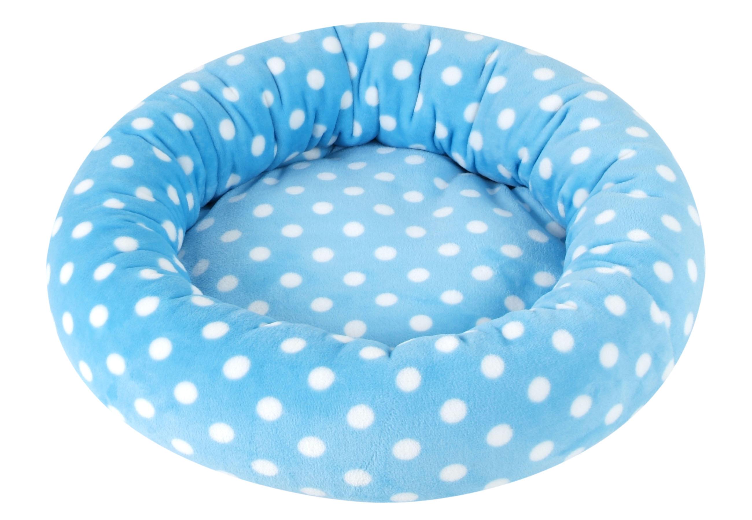 I love pets Pelíšek Amélie de luxe modrý s puntíkem 60cm