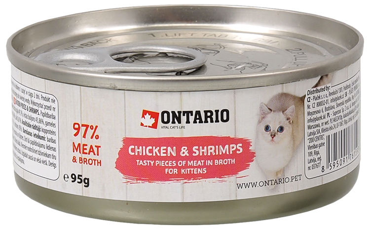 ONTARIO konzerva junior Chicken Pieces + Shrimp 95g