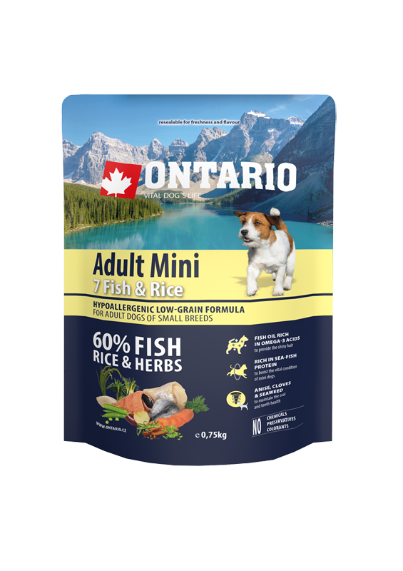 Ontario Adult Mini Fish & Rice 0.75kg