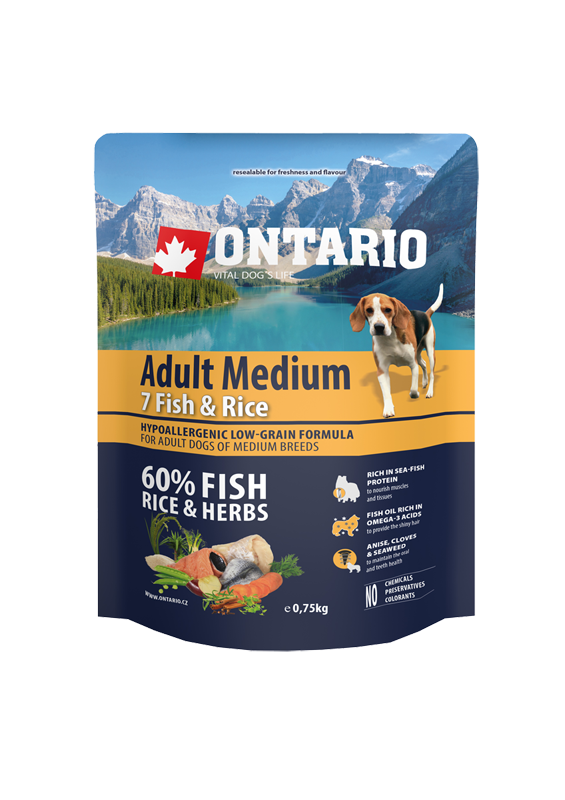 Ontario Adult Medium Fish & Rice 0.75kg