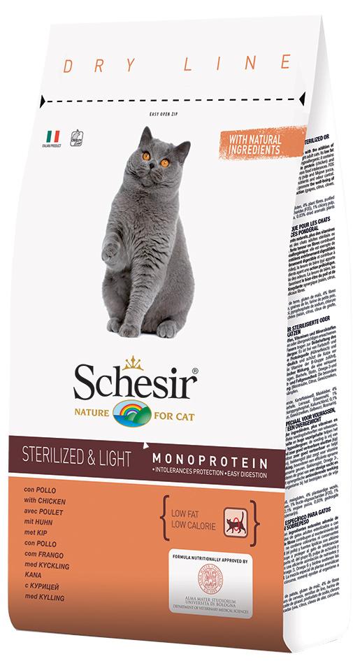 Krmivo SCHESIR se šunkou pro sterilizované kočky a kočky s nadváhou 400g