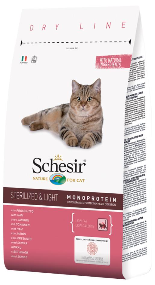 Krmivo SCHESIR se šunkou pro sterilizované kočky a kočky s nadváhou 1.5kg