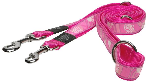 Vodítko ROGZ Fancy Dress Pink Paw přepínací XL