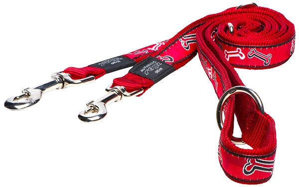 Vodítko ROGZ Fancy Dress Red Bone přepínací XL