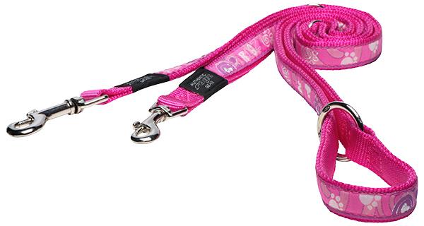 Vodítko ROGZ Fancy Dress Pink Paw přepínací L