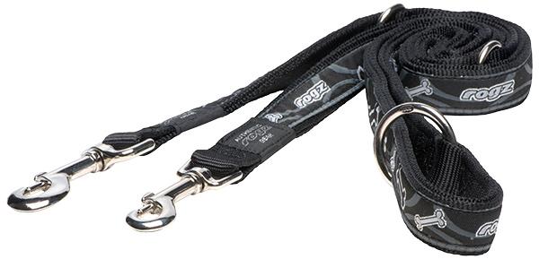 Vodítko ROGZ Fancy Dress Black Bone přepínací XL