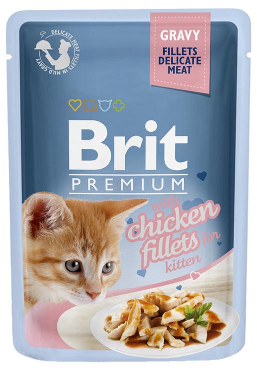Kapsička Brit Premium Cat Delicate Fillets ve šťávě s kuřetem pro koťata 85g
