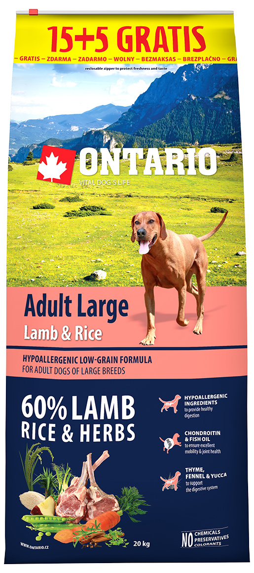 Ontario Adult Large Lamb & Rice 15+5 kg zdarma