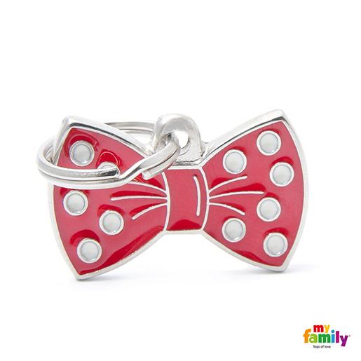 Známka My Family Charms Motýlek - mašle červený
