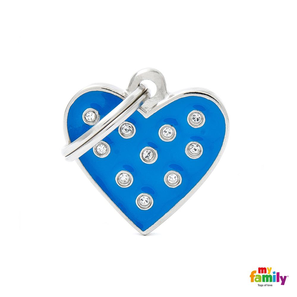 Známka My Family Chic Swarovski srdce modrá