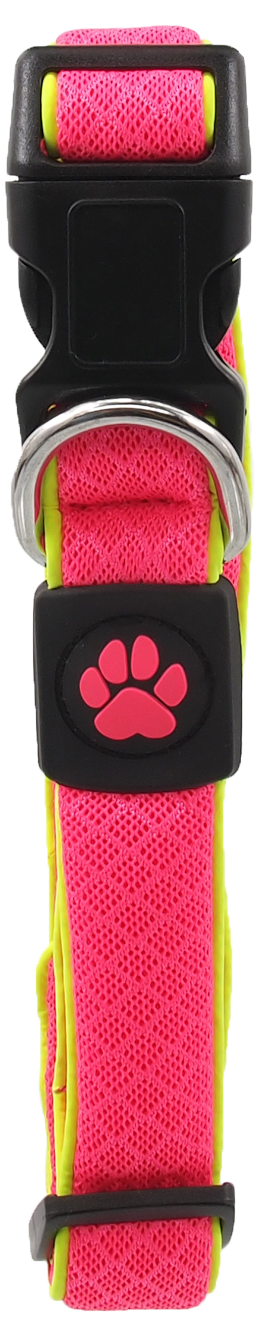 Dog Fantasy Obojek Active Dog Fluffy Reflective M růžový 2,5x35-51cm